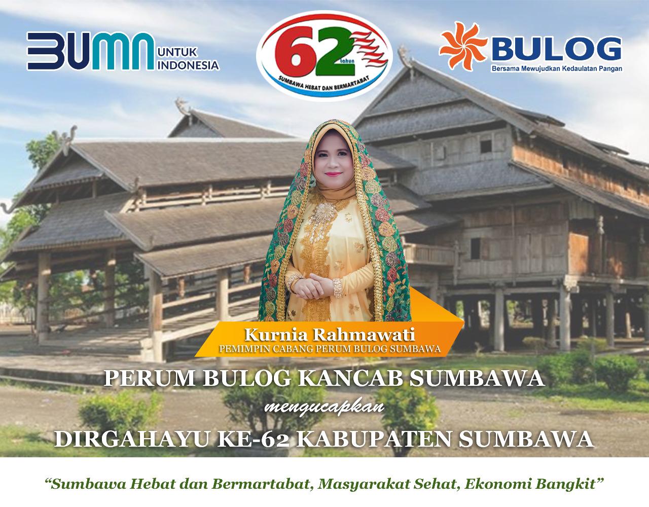Keluarga Besar Perum Bulog Kantor Cabang (Kancab) Sumbawa Mengucapkan Dirgahayu Ke-62 Kabupaten Sumbawa