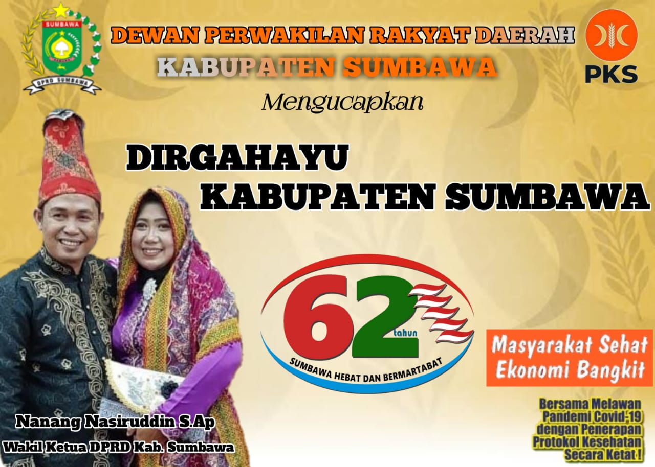 Pimpinan DPRD Kabupaten Sumbawa Mengucapkan Selamat Ulang Tahun ke-62 Kabupaten Sumbawa