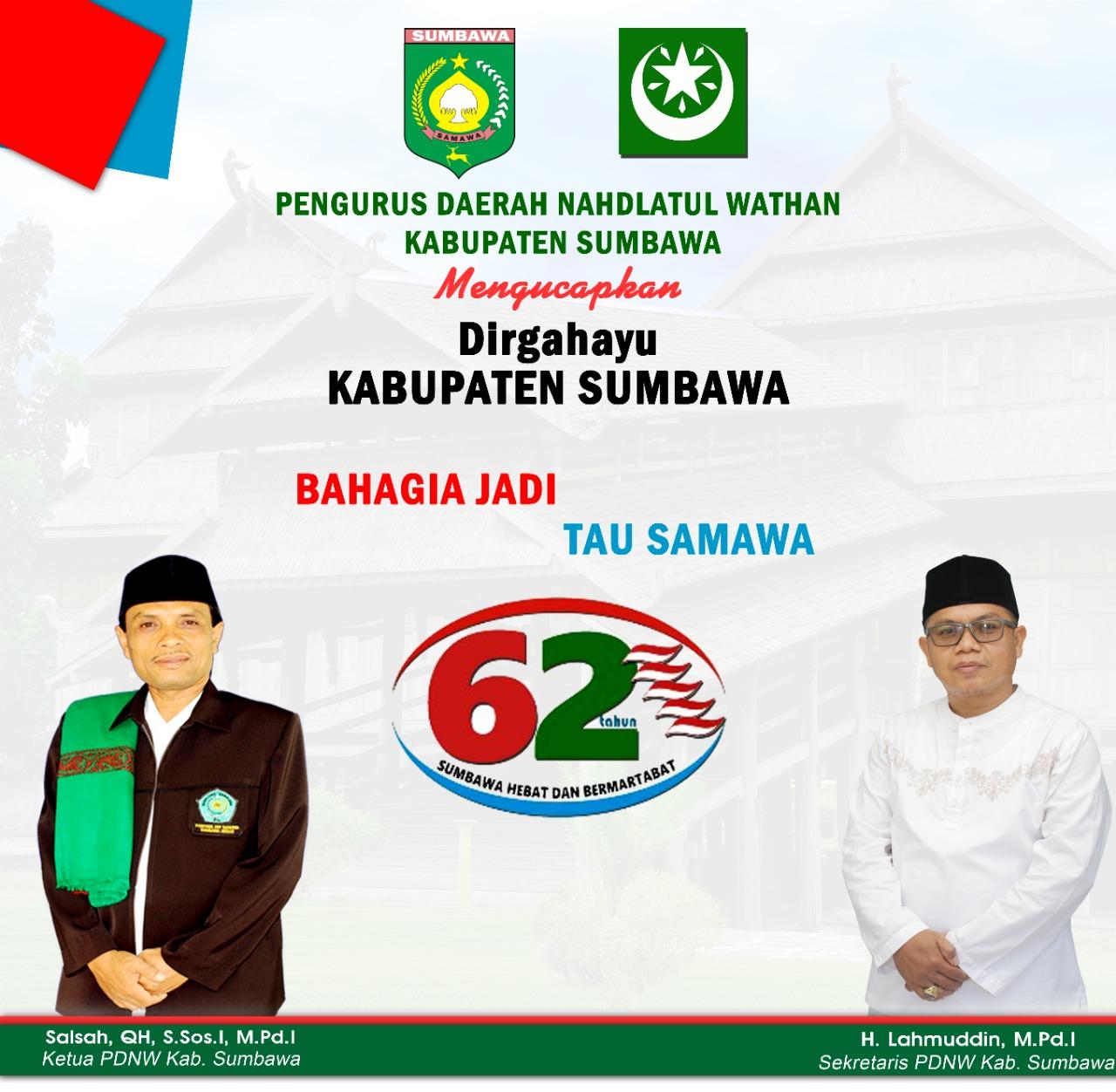 Pengurus Daerah Nahdlatul Wathan Kabupaten Sumbawa Mengucapkan Selamat HUT ke – 62 Kabupaten Sumbawa