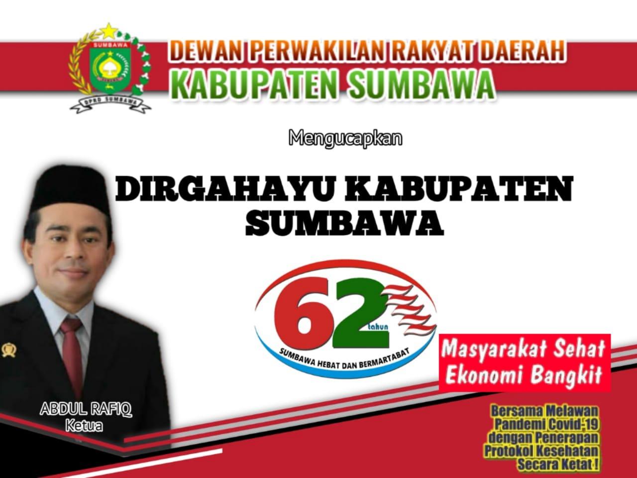 Ketua DPRD Kabupaten Sumbawa Mengucapkan Selamat Ulang Tahun ke-62 Kabupaten Sumbawa