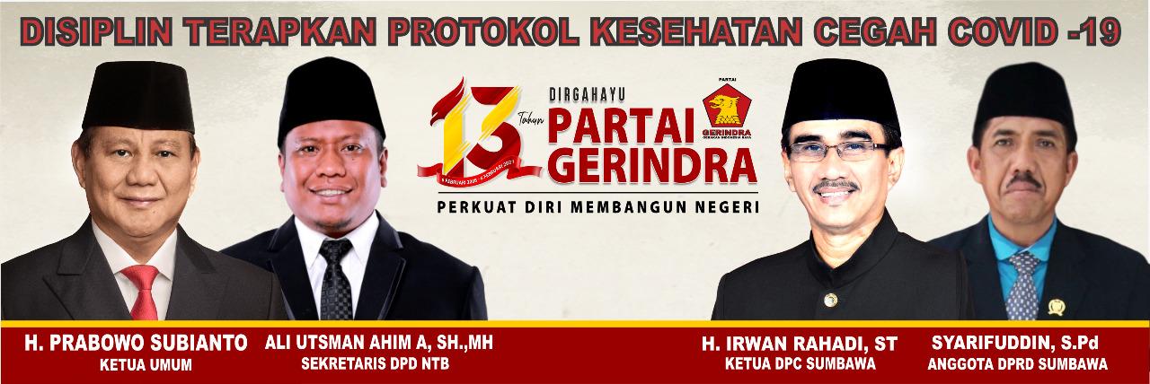 Selamat Ulang Tahun Partai Gerindra ke-13