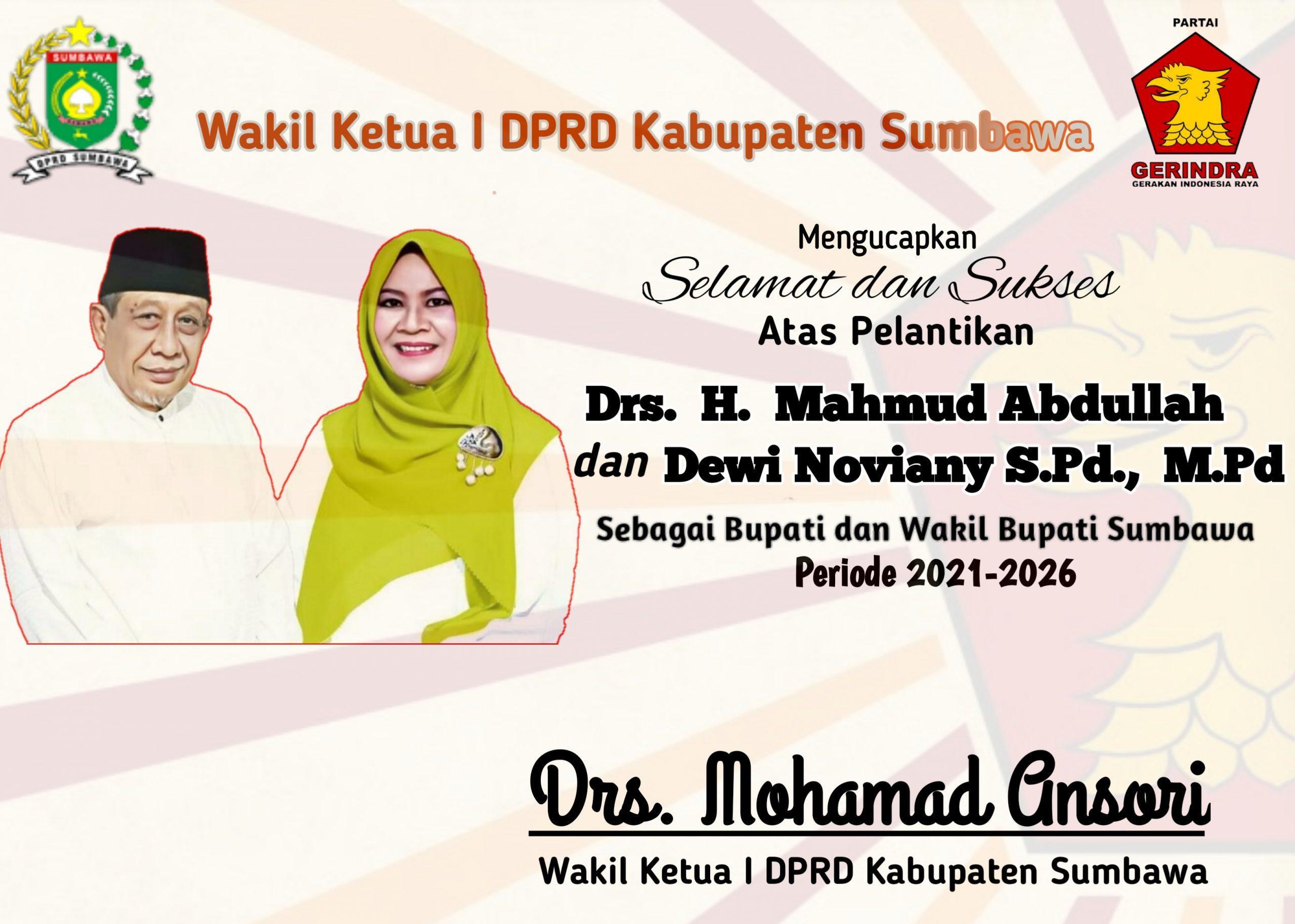 Ucapan Selamat Pelantikan dari Waka I DPRD Sumbawa, Drs. Mohamad Ansori