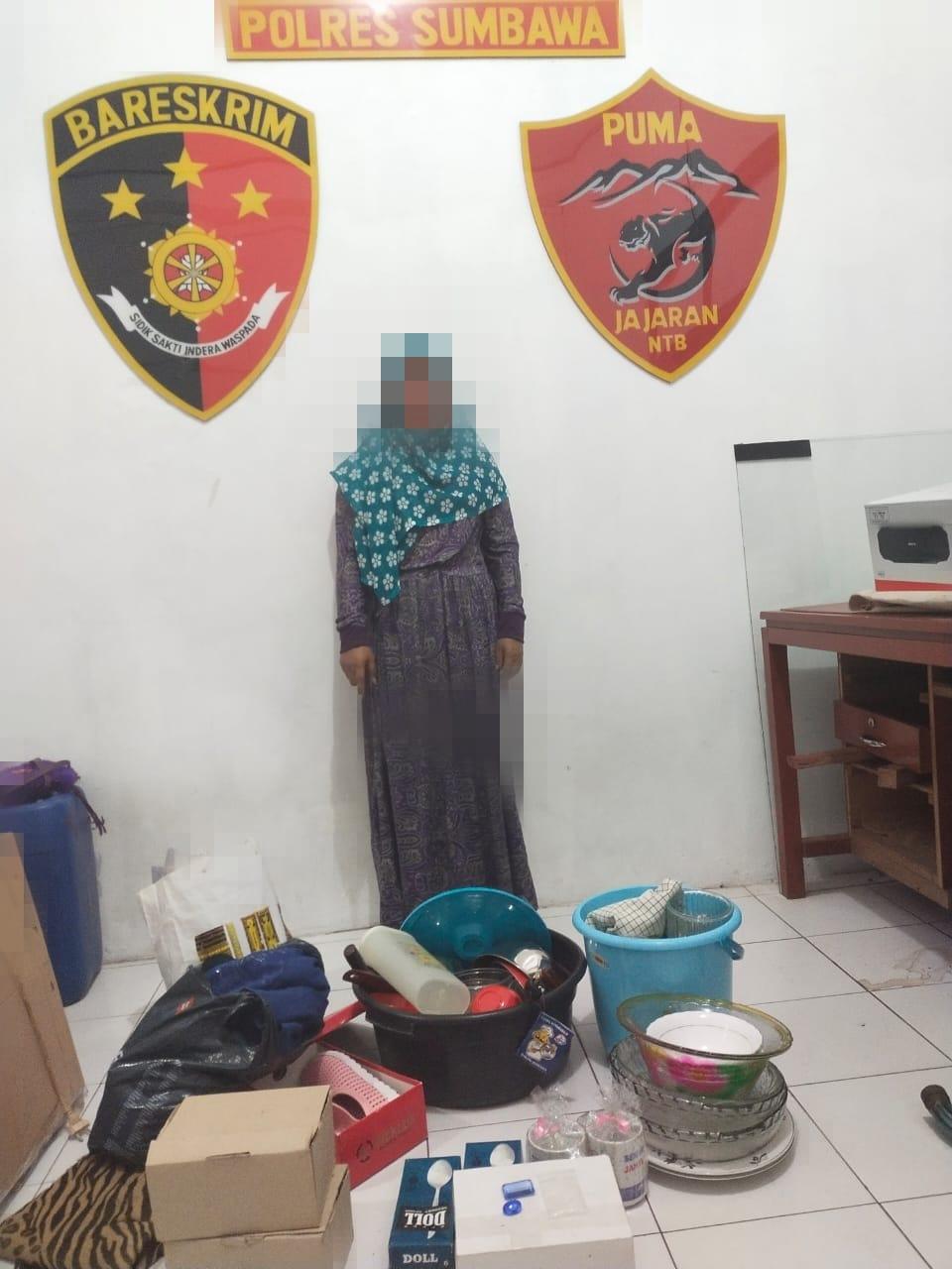 Curi Peralatan Dapur, Perempuan Asal Moyo Hulu Ditangkap Polisi