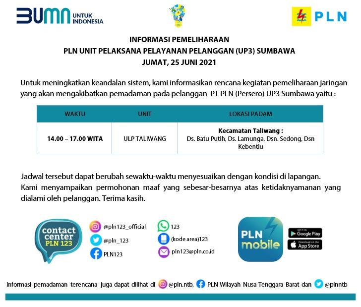 Jadwal Pemadaman Listrik, Jumat 25 Juni 2021