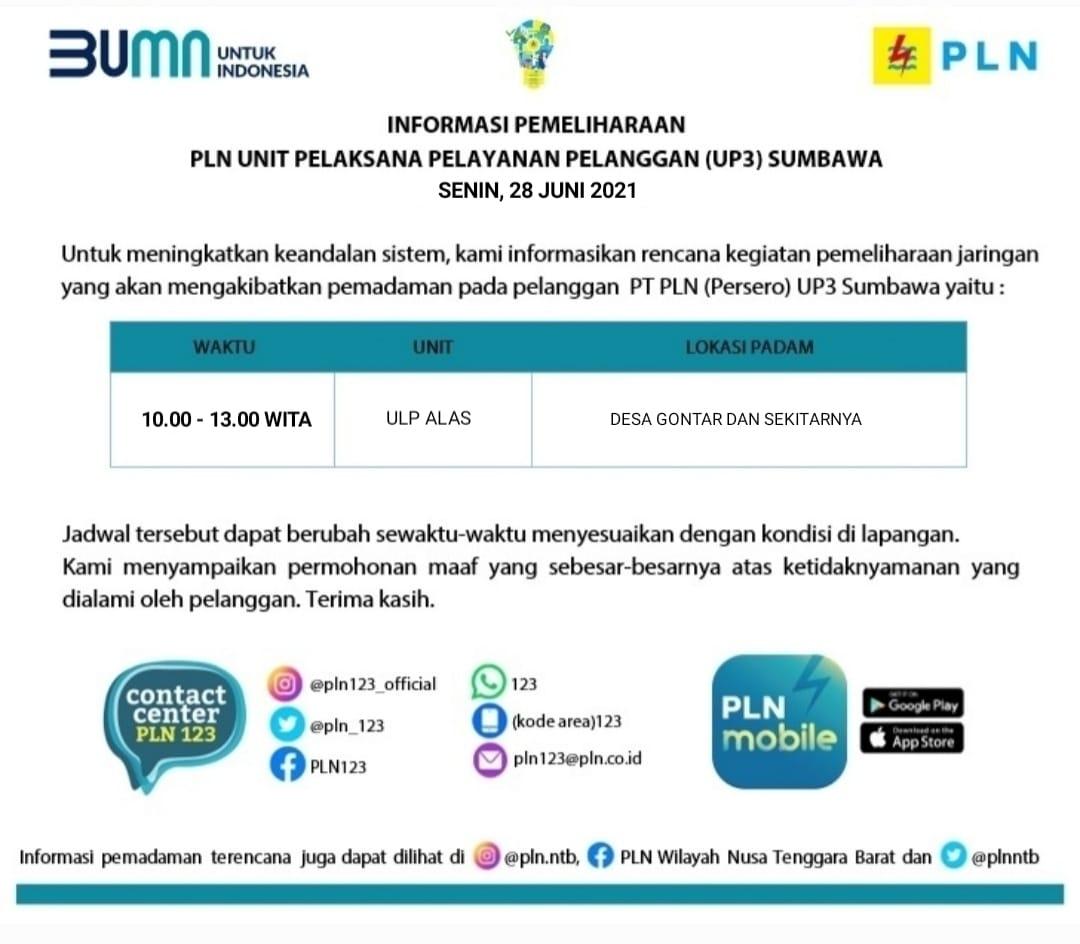 Informasi Pemadaman Listrik Terencana Senin, 28 Juni 2021