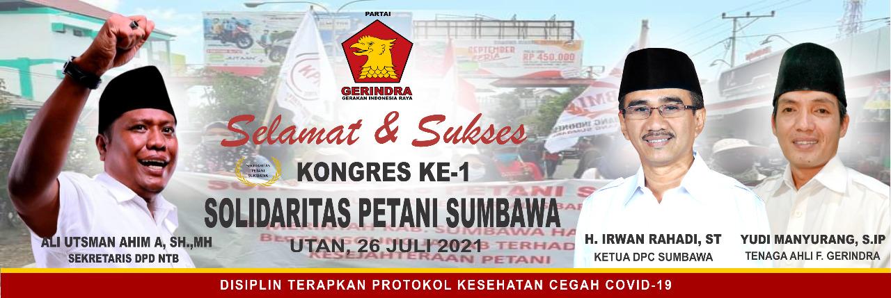 Partai Gerindra Mengucapkan Selamat dan Sukses Kongres ke-1 Solidaritas Petani Sumbawa