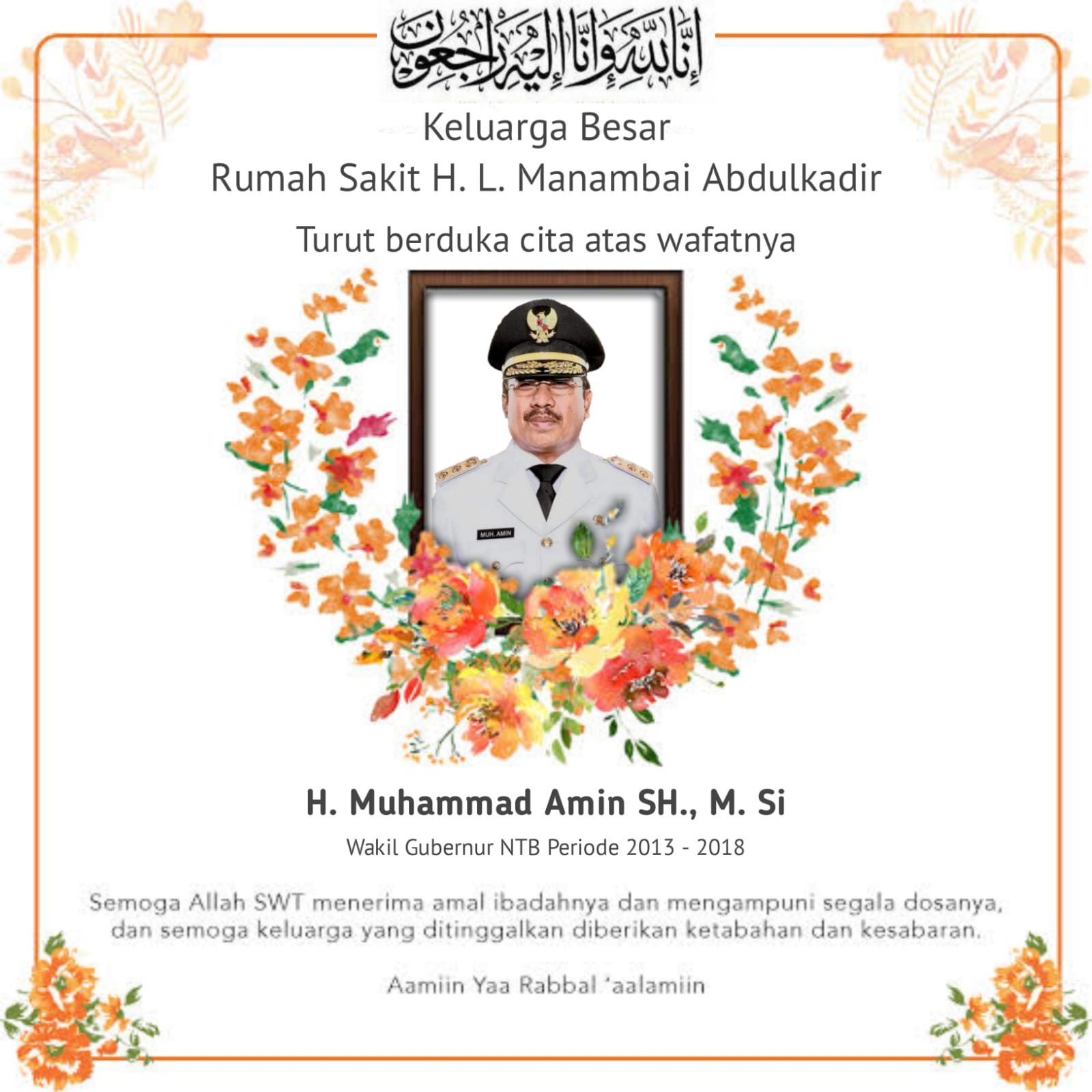 Ucapan Duka Cita Keluarga Besar RS H.L. Manambai Abdul Kadir