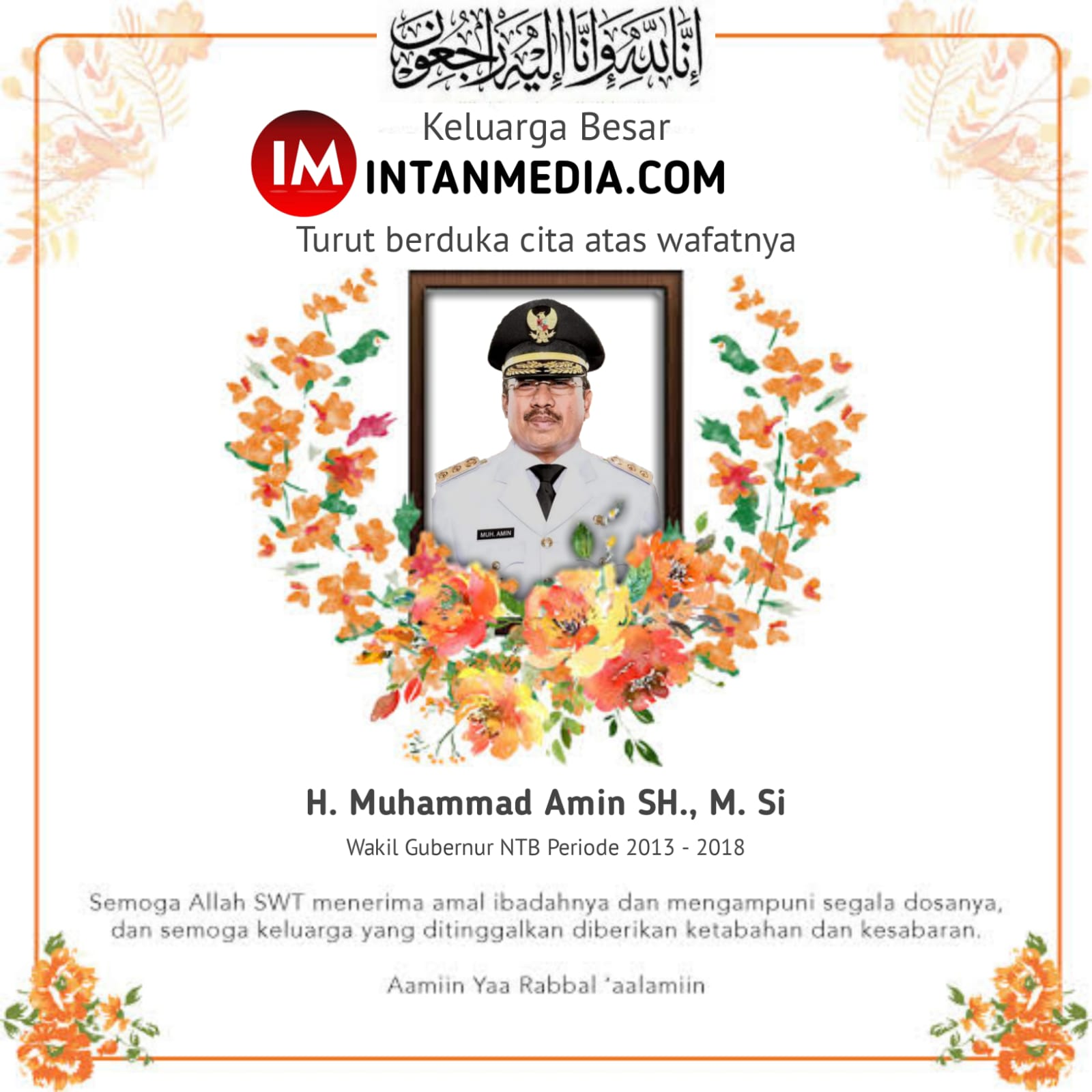 Ucapan duka Cita keluarga besar Redaksi intanmedia.com