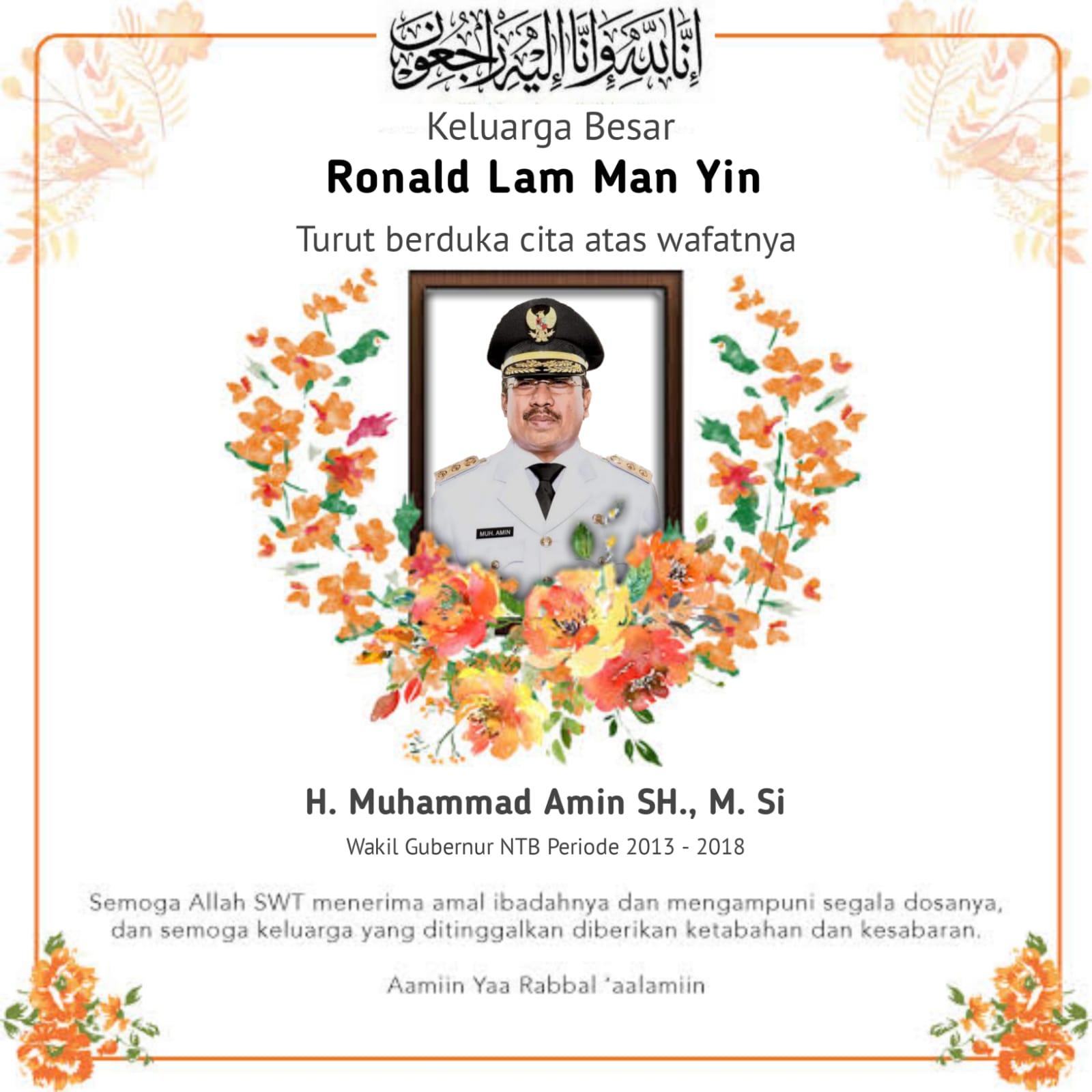 Ucapan Duka Cita dari Ronald Lim dan Keluarga Besar