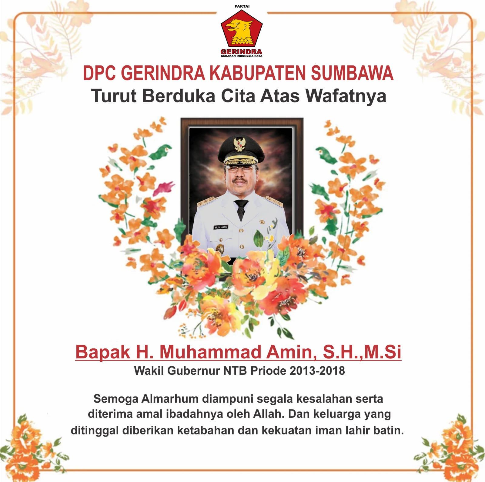 Ucapan Duka Cita Keluarga Besar Partai Gerindra Kabupaten Sumbawa