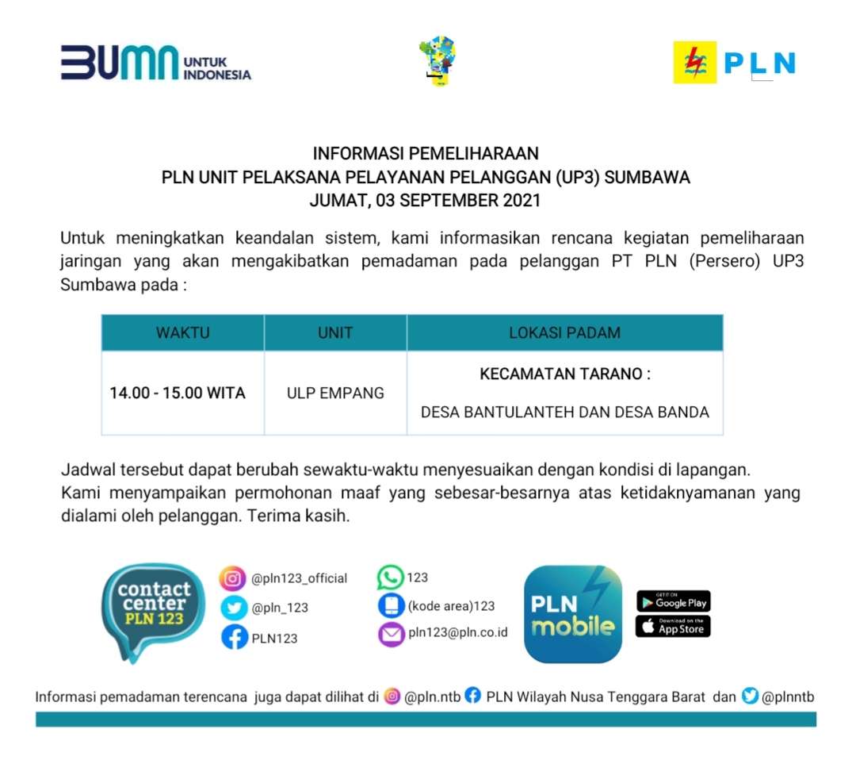 Jadwal Pemadaman Listrik, Jumat 03 September 2021