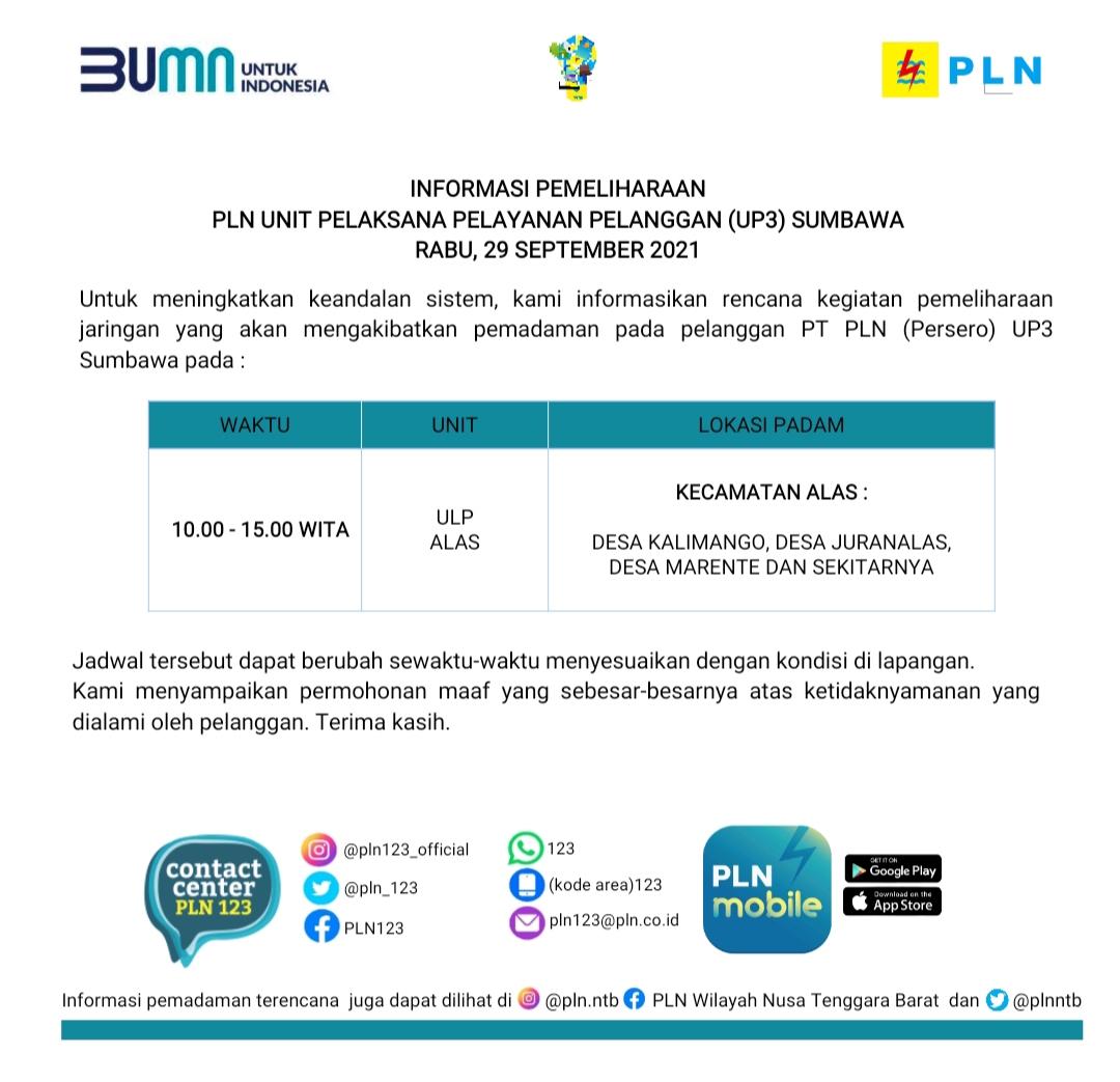 Jadwal Pemadaman Listrik, Rabu 29 September 2021