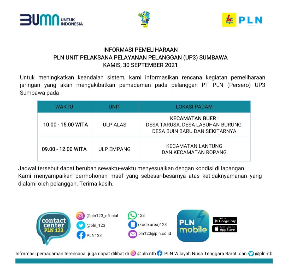 Jadwal Pemadaman Listrik, Kamis 30 September 2021