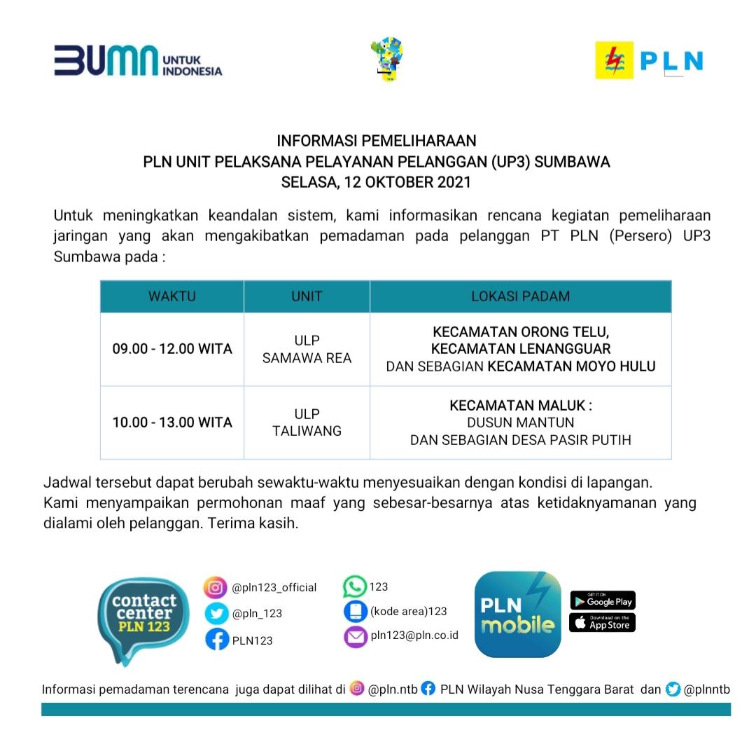 Jadwal Pemadaman Listrik, Selasa 12 Oktober 2021